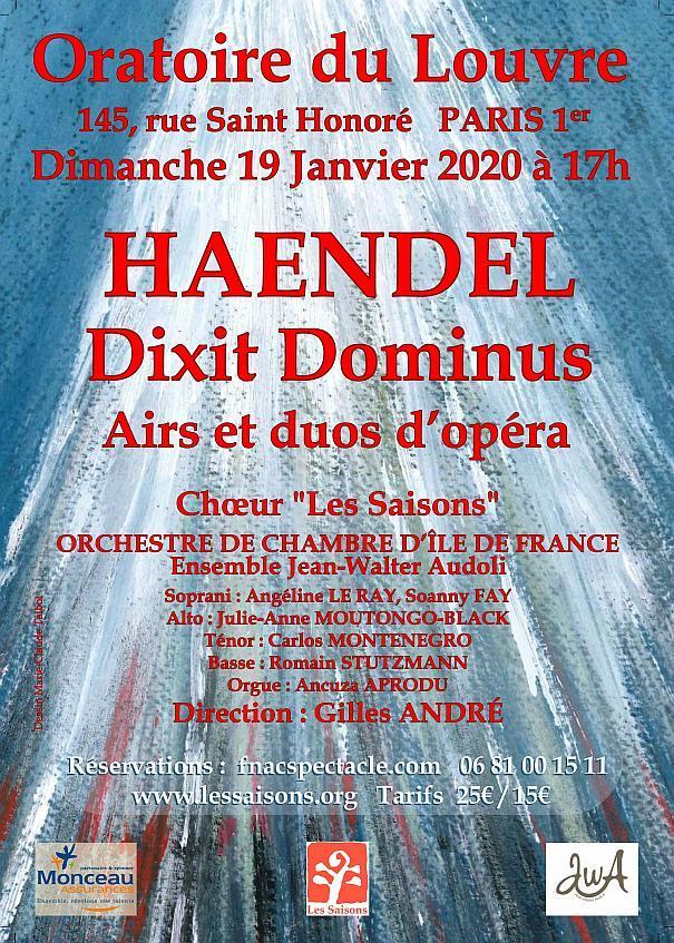 Dixit Dominus – Orchestre de chambre IDF – Oratoire du Louvre – janvier 2020